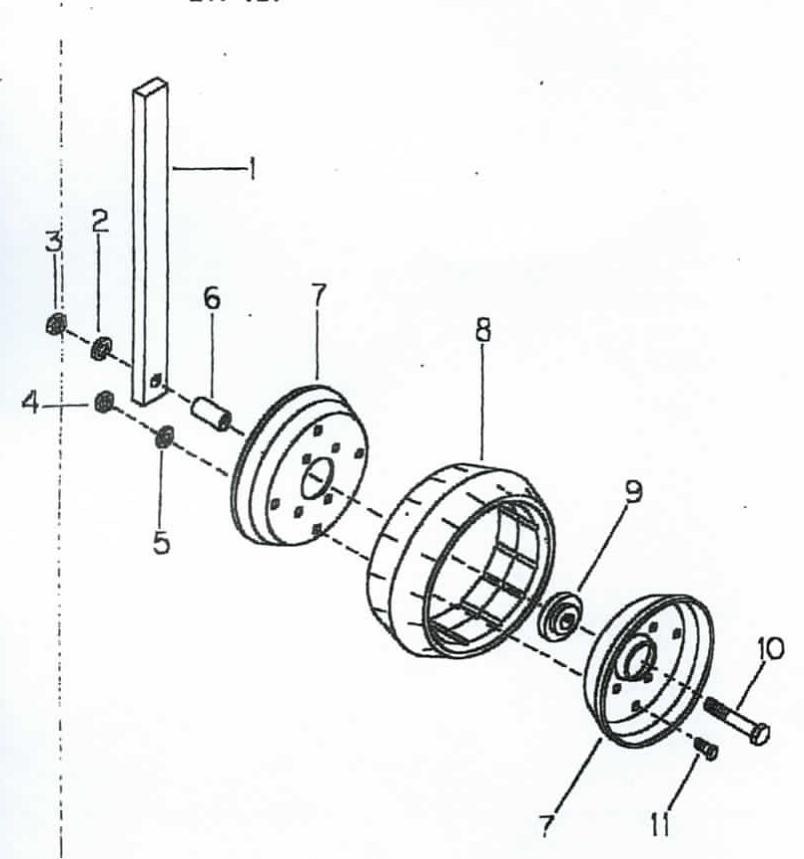 "B47-121 12"" Gauge Wheel wShank for Cole 12 MX Planter"
