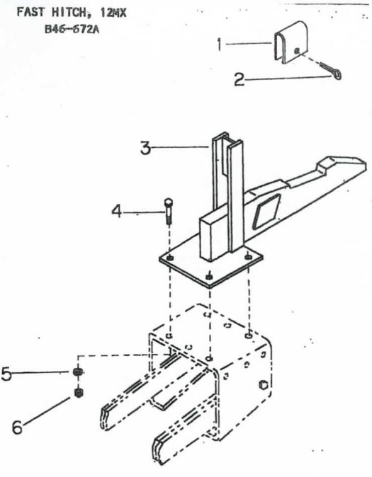 B46-672A One-point hitch to mount 12-MX to International