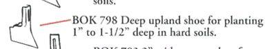 "BOK-798 Cole Planet Jr. Deep Upland shoe for Planting 1""-1 1/2"" Deep in Hard Soils"