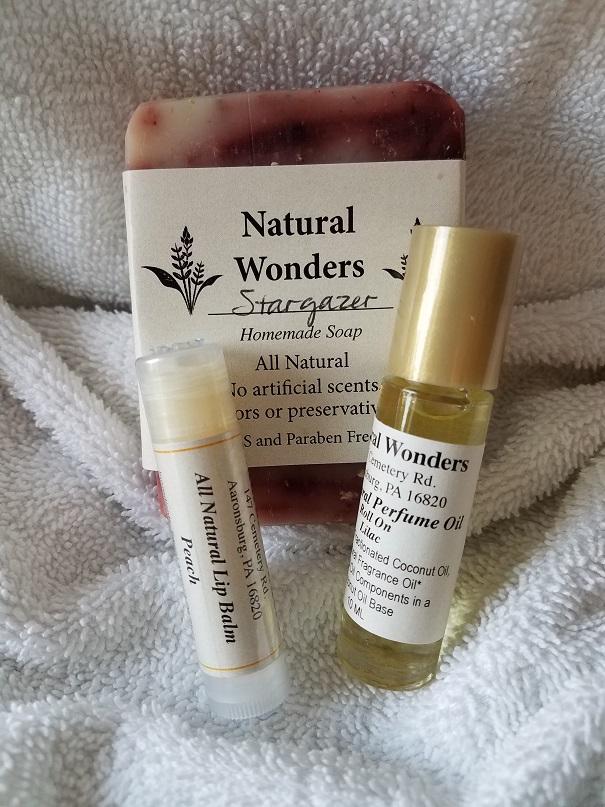 Amish Made Natural Wonders Gift Set of Soap, Perfume & Lip Balm