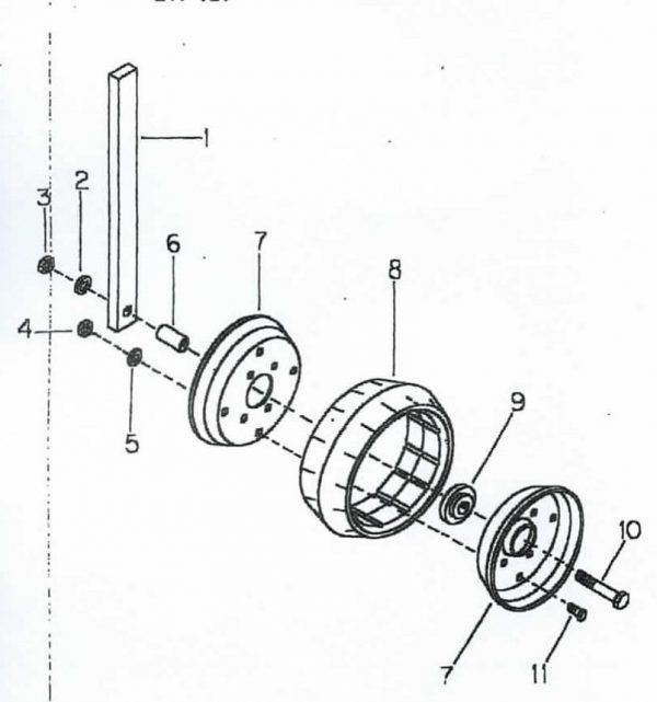 "B47-121 12"" Gauge wheel w/Shank for Cole 12 MX Planter"