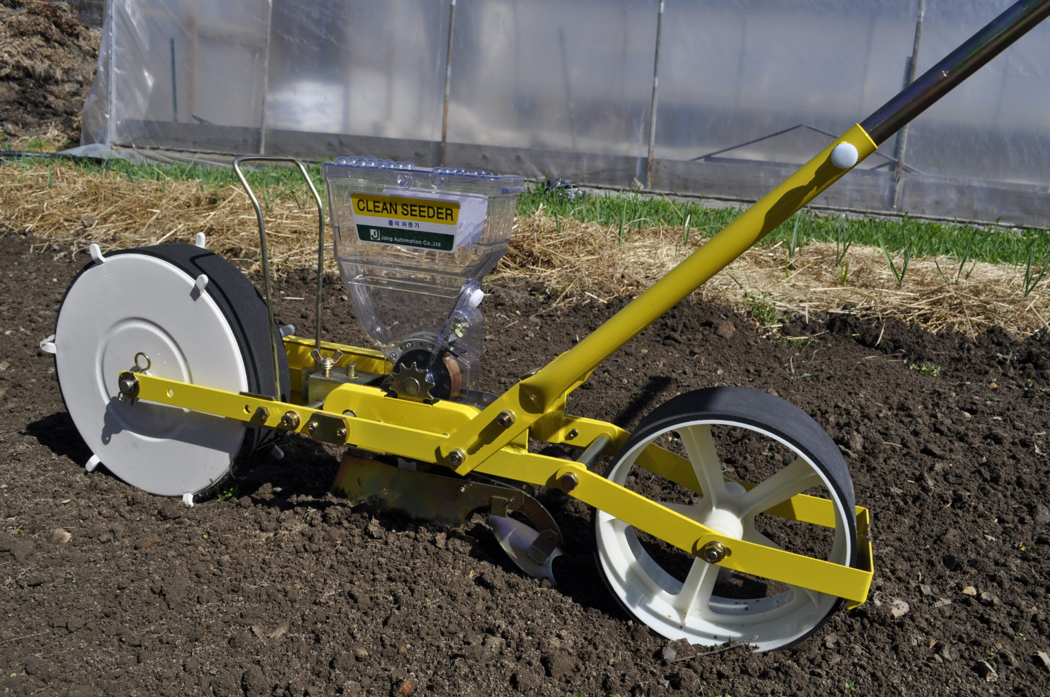 Johnny and his JP-1 Jang Seeder by Hoop House