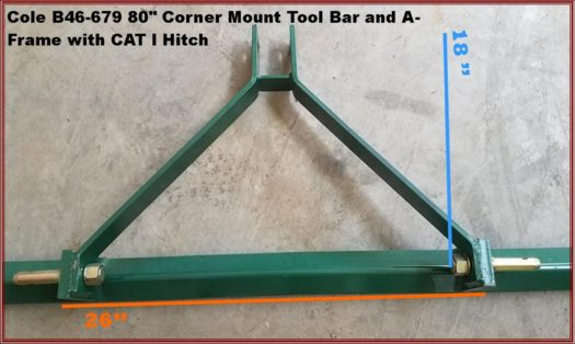 B46-679 80 Inch Corner Mount Tool Bar and A-Frame Dims