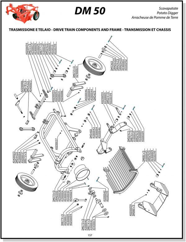 DM50 Delmorino Potato Digger Parts