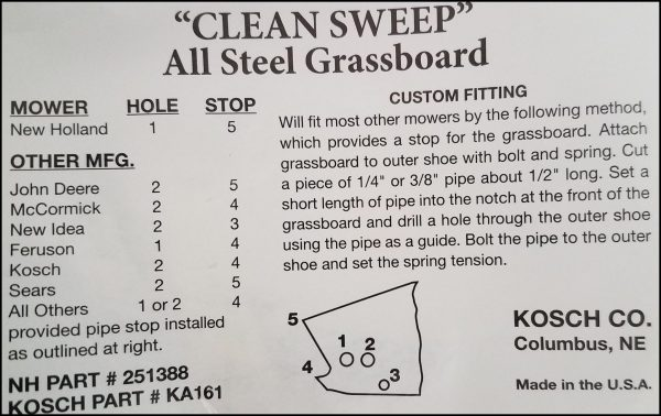 Swathboard, Grassboard Fitting Instructions