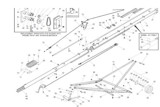 WR8051SD 8 x 51 WR80 Series Westfield Grain Auger w/ PTO Parts Breakdown