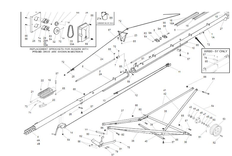 WR8051SD 8 x 51 WR80 Series Westfield Grain Auger w/ PTO, WR Series