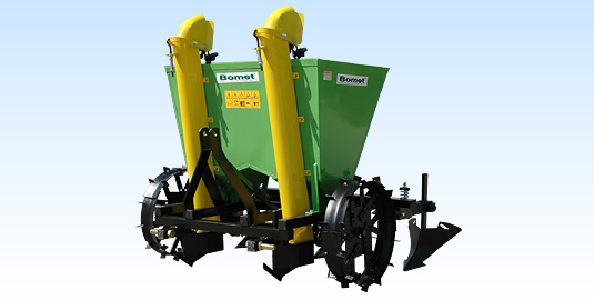 Gemini Two-Row Potato Planter from Bomet w/ 3 Pt. Tractor Mount. Plants Small Potatoes, Too!